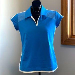 Adidas Climacool Golf Shirt - Blue & White